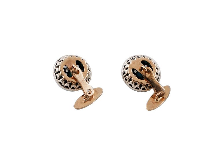 Round Cut Diamonds, Turquoise, 9 Karat Rose Gold and Silver Cufflinks For Sale