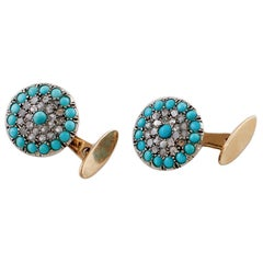 Diamonds, Turquoise, 9 Karat Rose Gold and Silver Cufflinks