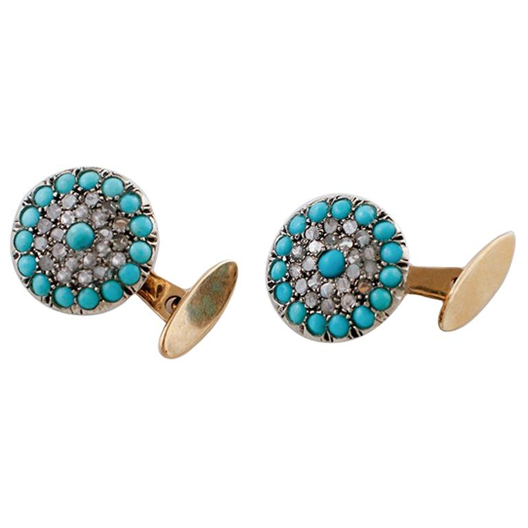 Diamonds, Turquoise, 9 Karat Rose Gold and Silver Cufflinks For Sale
