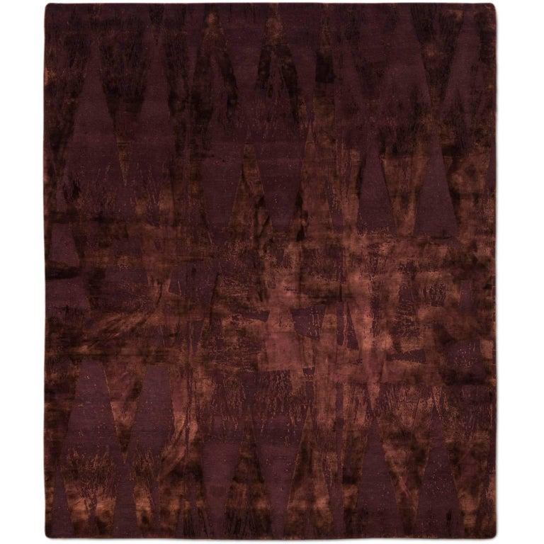 Diamonds Vintage Burgundy Hand Knotted Tibetan Modern Geometric Wool