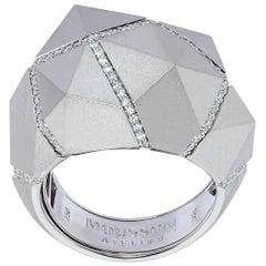 Diamonds White 18 Karat Matte Gold Geometry Big Ring