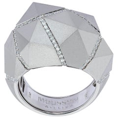 Diamonds White 18 Karat Matte Gold Geometry Big Ring