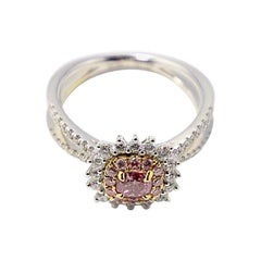 Diamonds, White and Yellow Gold Sunset Cocktail Ring