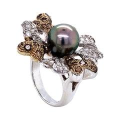 Diamonds White, Brown and Tahiti Pearl on White Gold 18 Karat Fashion Ring