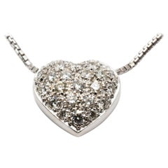 Diamonds White Gold Heart Necklace Made in Italy
