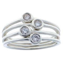 Diamonds White Gold Stacking Ring Handcrafted in Italy by Botta Gioielli