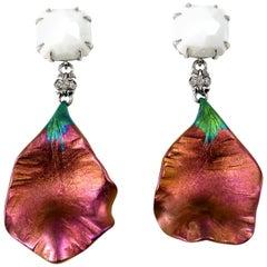 Diamonds White Opal 18 Karat White Gold Titanium Drop Earrings