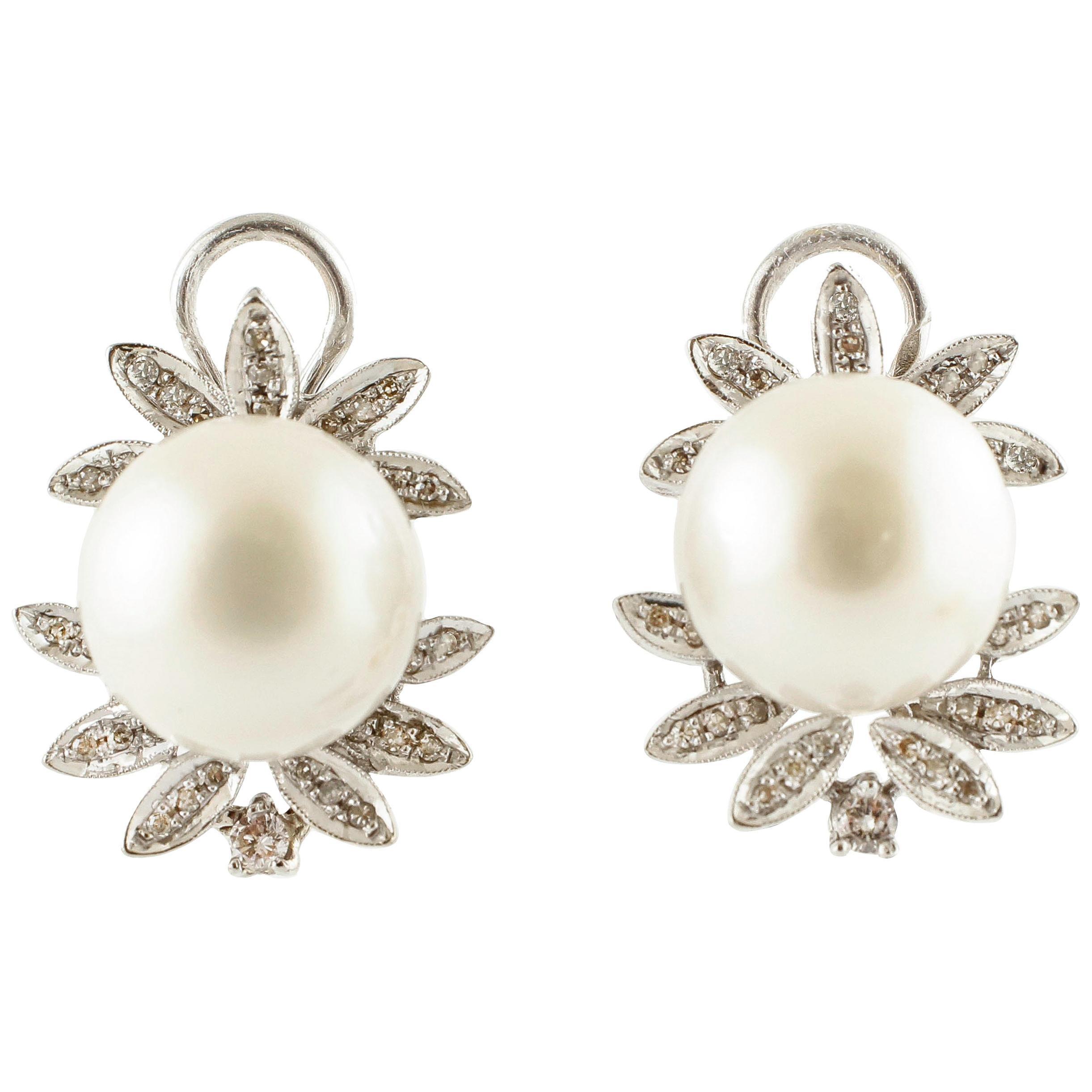 Diamonds, White Pearls, 14 Karat White Gold Clip-On Earrings