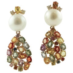 Diamonds, White Pearls, Multi-color Sapphires 14K Rose Gold Earrings
