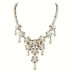 Diamonds, White Pearls, Rose Gold and Silver Flower Shape Beaded/ Drop Necklace