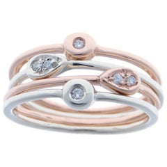 Diamonds White Rose Gold Stacking Ring Handcrafted in Italy by Botta Gioielli