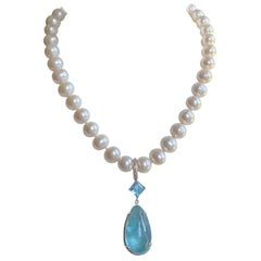 Diamonds with Freshwater Pearls & Large Aquamarine in a Sterling Silver Necklace