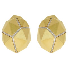 Diamonds Yellow 18 Karat Matte Gold Geometry Earrings