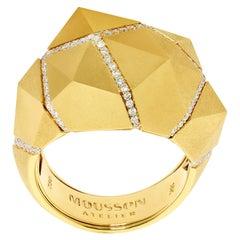 Diamonds Yellow 18 Karat Matte Gold Geometry Ring