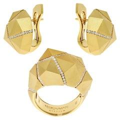 Diamonds Yellow 18 Karat Matte Gold Geometry Suite