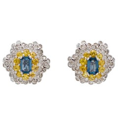Diamonds, Yellow and Blue Sapphires, White Gold Clip-On Earrings