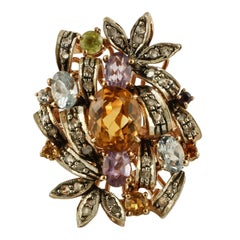 Diamonds Yellow and Light Blue Topazes Amethysts Peridot Rose Gold Silver Ring