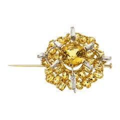 Diamonds Yellow Berils Yellow and White 18 Karat Gold Brooch Handcrafted
