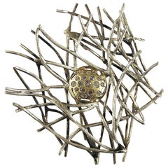 Diamonds Yellow Gold Sterling Silver Brooch Handcrafted by Botta Gioielli