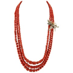 Diamonds,Sapphires, Rose Gold/Silver Butterfly Shape Clasp ,Red Corals Necklace
