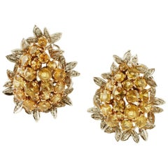 Diamonds, Yellow Sapphires, 14 Karat White and Rose Gold Stud Earrings