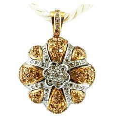 Diamonds, Yellow Sapphires, 14 Karat White and Yellow Gold Retro Pendant