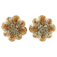 Diamonds, Yellow Sapphires, 14 Karat White and Yellow Gold Retro Stud Earrings