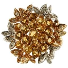 Diamonds, Yellow Sapphires, 14 Karat White and Yellow Gold Retro Ring