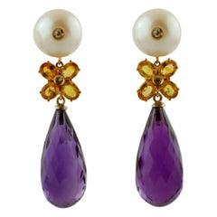 Diamonds Yellow Sapphires Amethyst Drops Pearls 14 Karat Rose Gold Drop Earrings