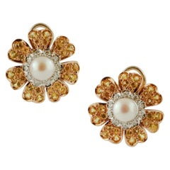 Diamonds, Yellow Sapphires, Pearls, Yellow Gold Flower Earrings