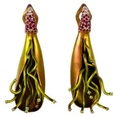 Diamonds Yellow Sapphires Rubies 18 Karat Rose Gold Titanium Clip-On Earrings
