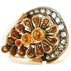 Diamonds, Yellow Stones, Rose Gold and Silver Fashion Retrò Ring