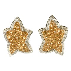 Diamonds, Yellow Topaz, 14 Karat White and Yellow Gold Star Earrings