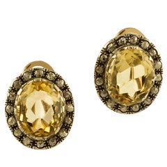 Diamonds, Yellow Topaz, 9 Karat Rose Gold and Silver Stud Earrings