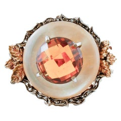 Diamonds, Yellow Topaz, Mother-of-Pearl, Rose Gold and Silver Cluster Retrò Ring
