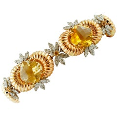 Diamonds, Yellow Topazes, 14 Karat Rose and White Gold Retrò Link Bracelet