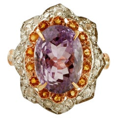 Diamonds, Yellow Topazes, Amethyst, 9 Karat Gold and Silver Cluster Fashion Ring