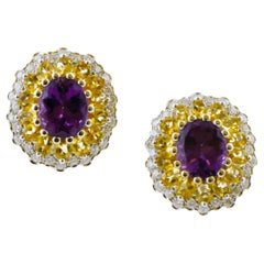 Diamonds, Yellow Topazes, Amethysts, 14K White Gold Earrings
