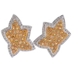 Diamonds Yellow Topazes, White Gold Earrings