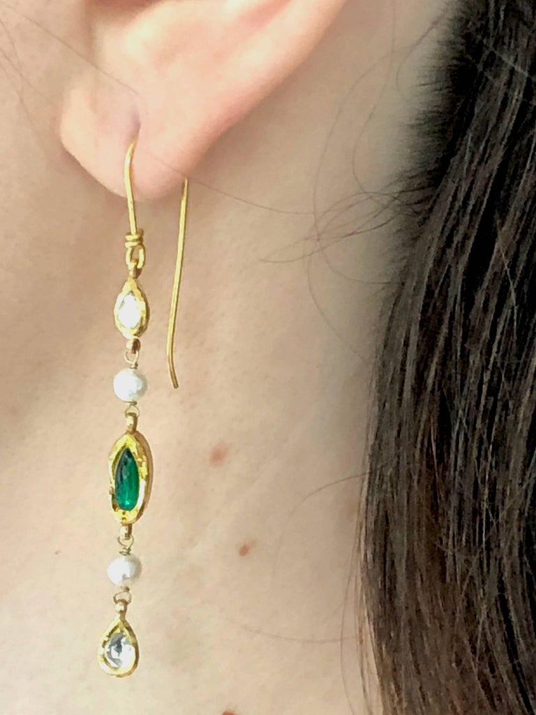 Contemporary Diamonds, Emerald and Pearls 14K Gold Dangle Earrings  For Sale