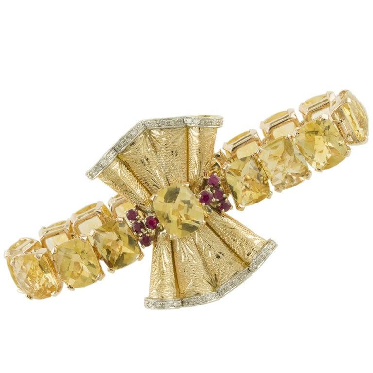 Diamonds Rubies Yellow Topaz Rose Gold Bracelet
