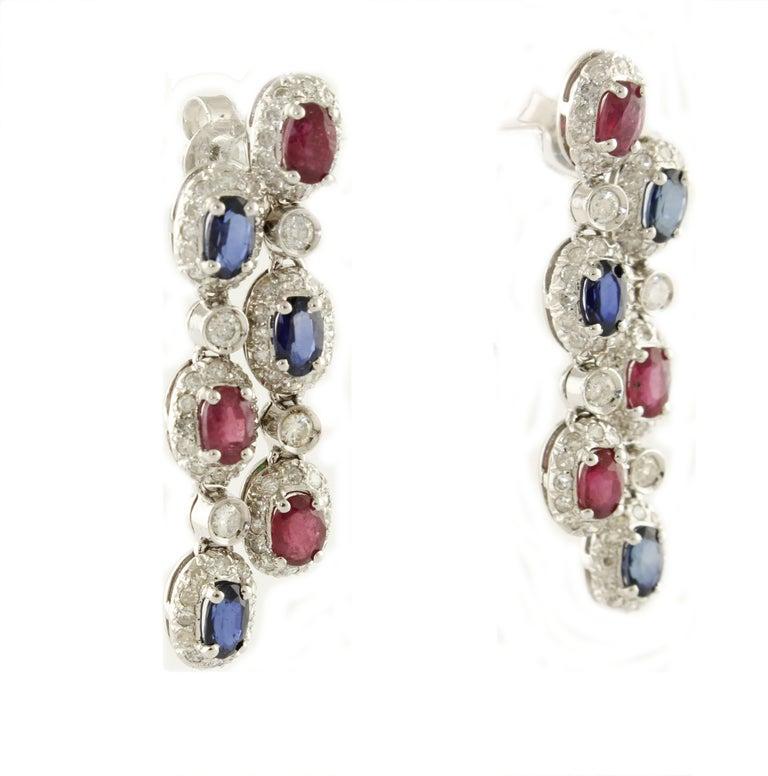 Retro Diamonds Shires Rubies White Gold Dangling Earrings For