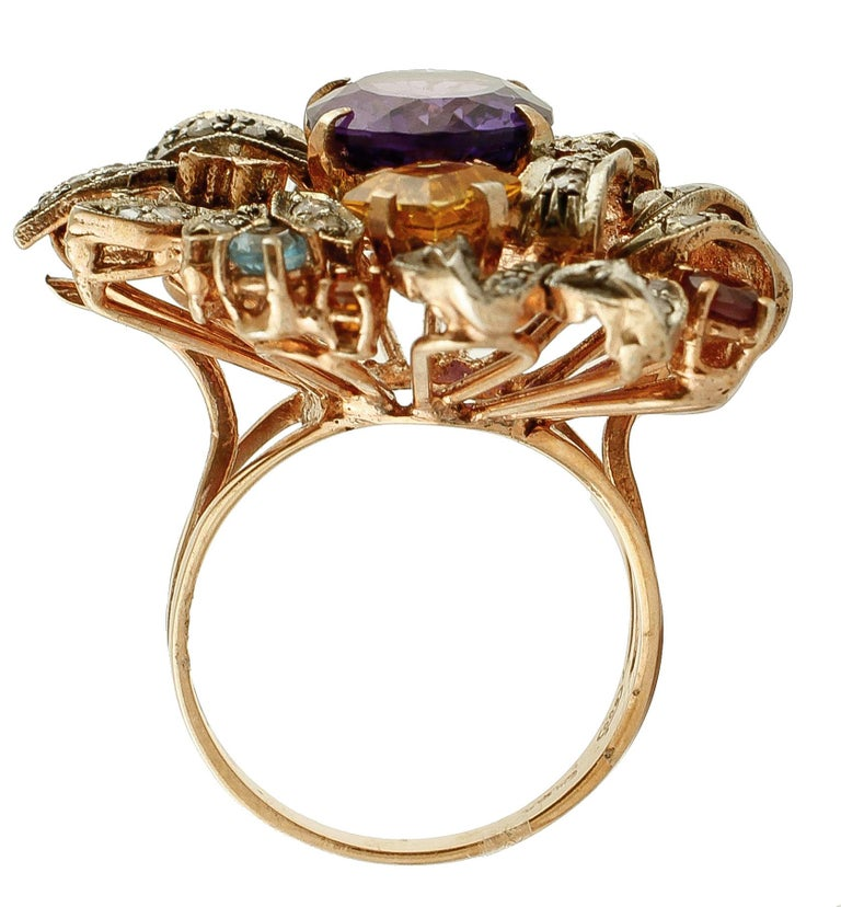 Diamonds, Amethyst, Peridot, Garnet, Aquamarines, Topaz, 9K Gold and Silver Ring In Excellent Condition For Sale In Marcianise, Caserta