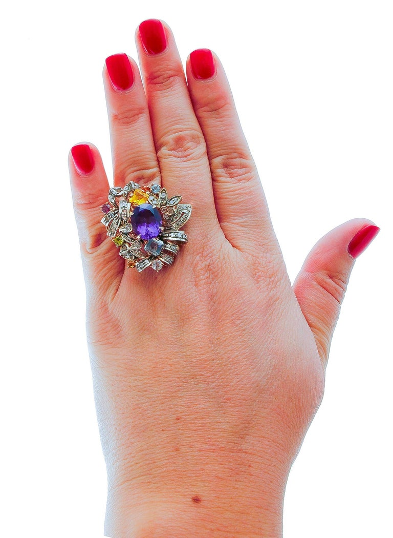 Women's Diamonds, Amethyst, Peridot, Garnet, Aquamarines, Topaz, 9K Gold and Silver Ring For Sale