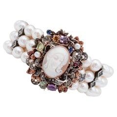 Diamonds, Amethyst, Peridots, Garnets, Pearls,Cameo,9Kt Gold and Silver Bracelet