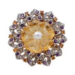 Diamonds,Amethysts,Yellow Topazes,Hard Stone Flower, Pearl, Gold and Silver Ring