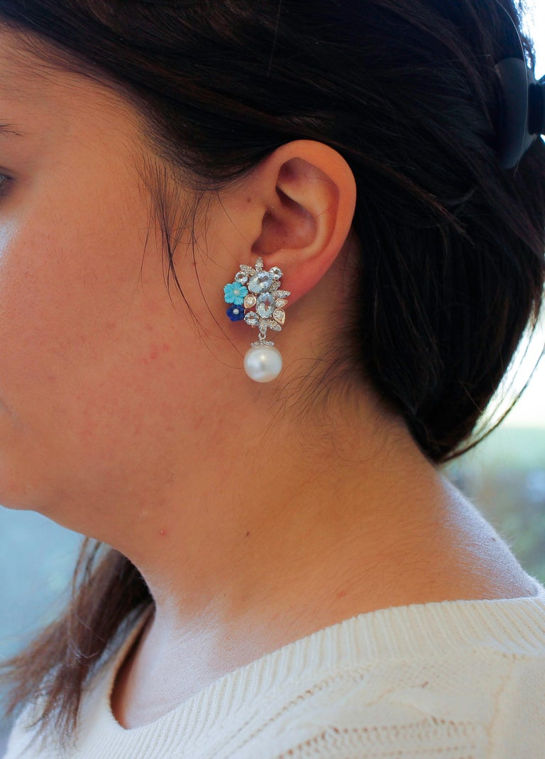 Women's Diamonds, Aquamarine, Turquoise, Lapiz, Rose and White Gold Clip-on Earrings For Sale
