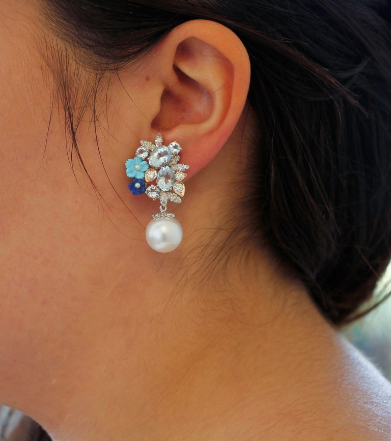 Diamonds, Aquamarine, Turquoise, Lapiz, Rose and White Gold Clip-on Earrings For Sale 1