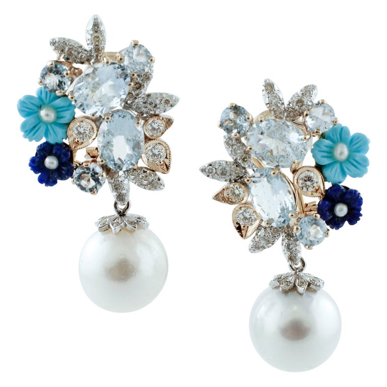 Diamonds, Aquamarine, Turquoise, Lapiz, Rose and White Gold Clip-on Earrings For Sale
