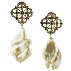 Diamonds, Blue Sapphires Baroque Pearls 14 Karat Gold and Silver Dangle Earrings